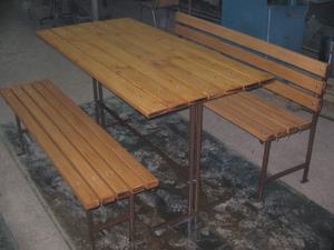 Скамейки и стол из профильной трубы своими руками