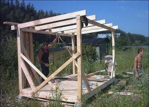 Описание процесса строительства каркасного типа сарая на даче
