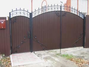 ворота и калитка из профнастила фото
