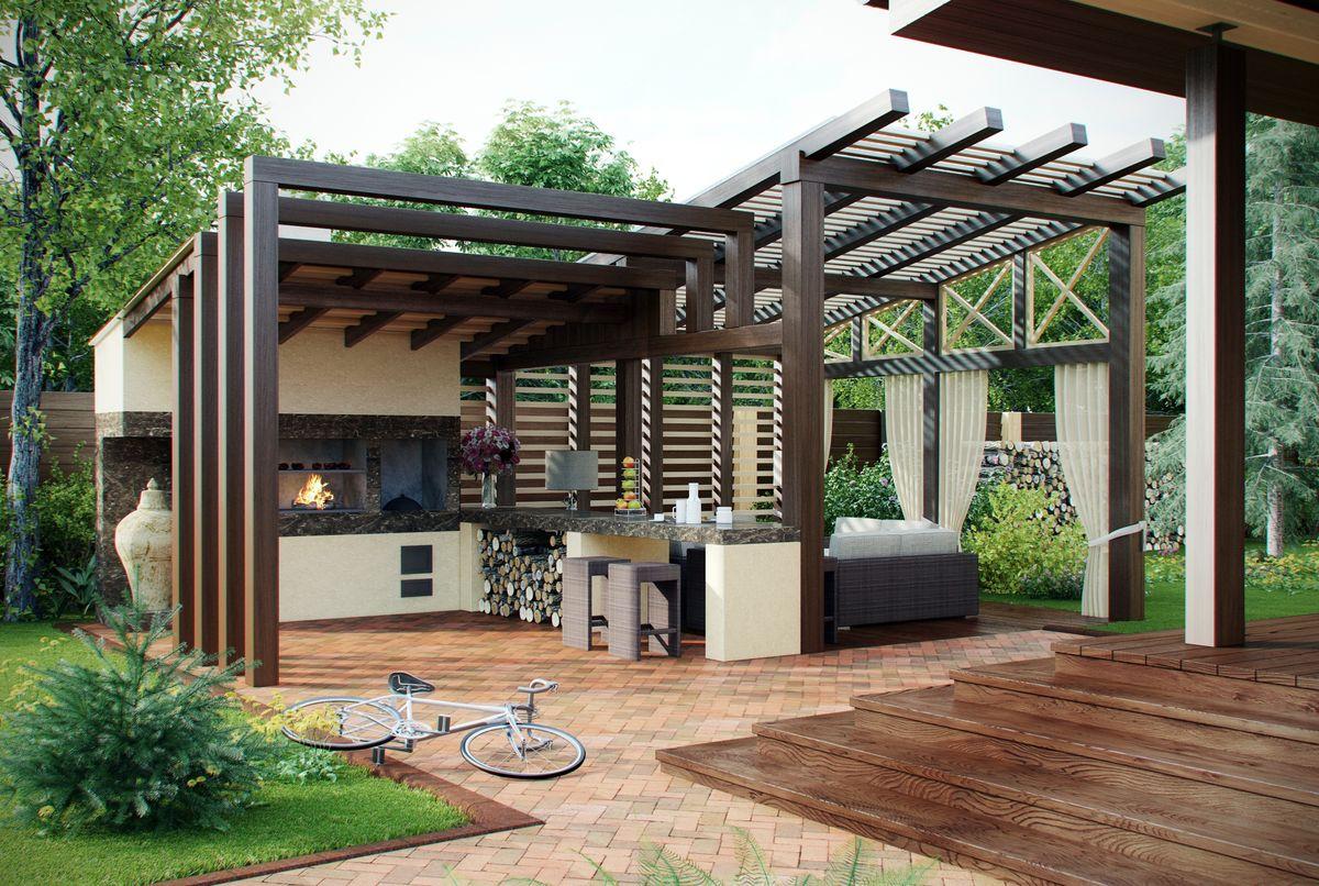 Зона барбекю в загородном доме на даче: проекты и фото