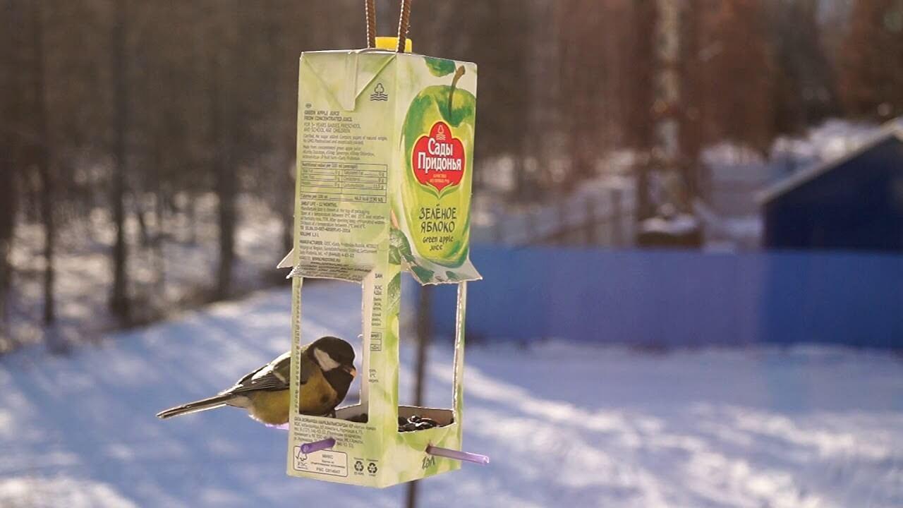Как сделать из коробки из-под сока кормушку для птиц