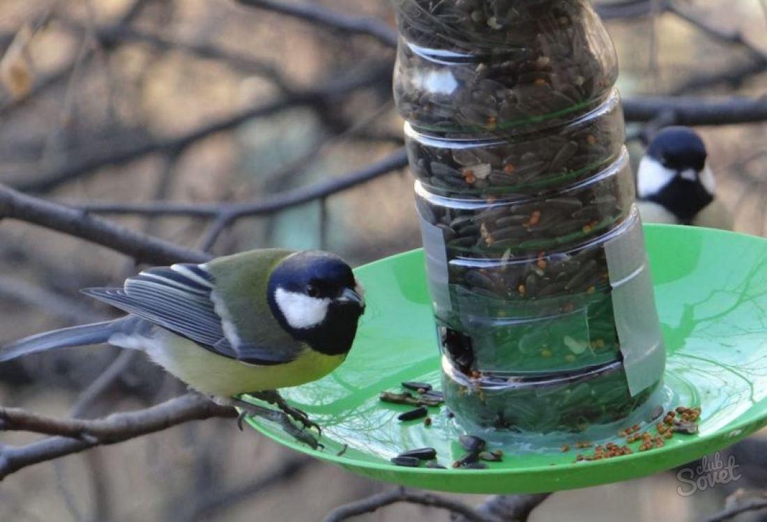 Кормушка для птиц из пластиковых бутылок своими руками