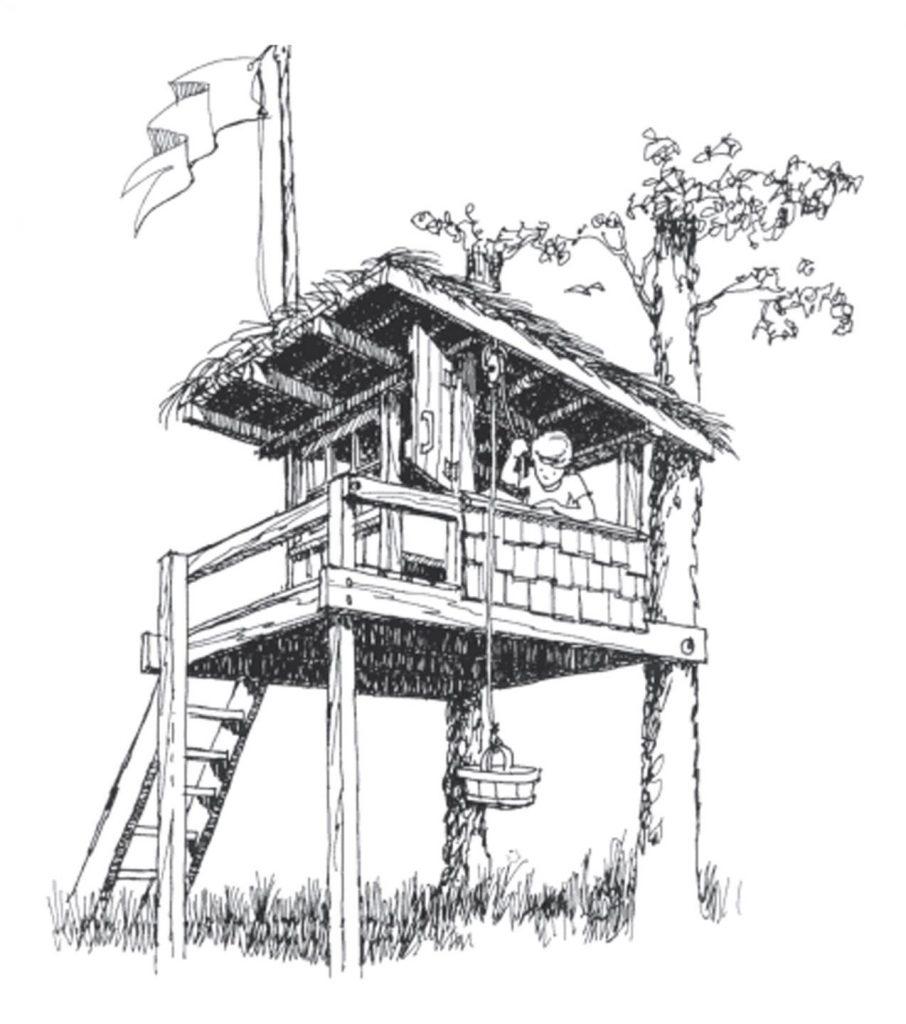 Домик на двух деревьях и дополнительных опорах
